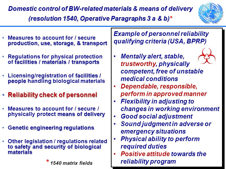 Domestic control of BW-related materials & means of delivery (resolution 1540, Operative Paragraphs 3 a & b)*