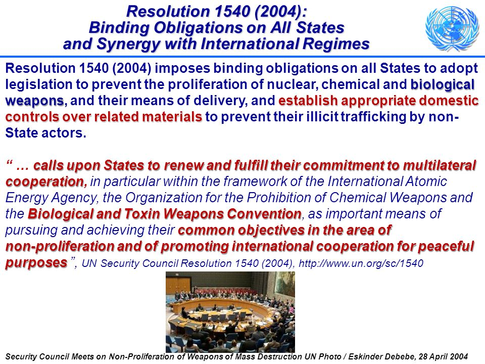 Resolution 1540 (2004): Binding Obligations on All States and Synergy with International Regimes