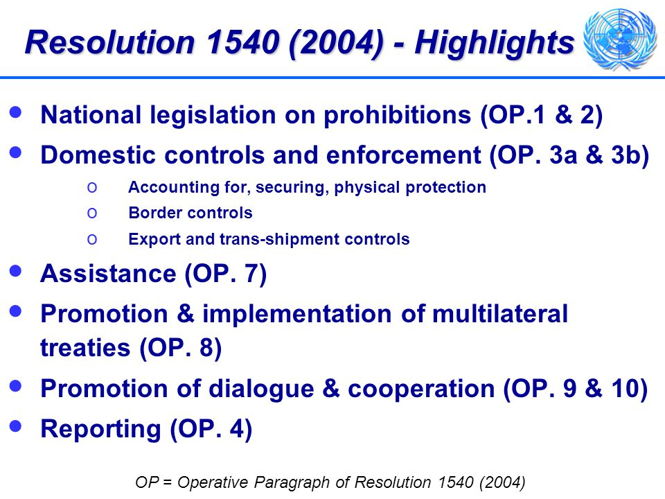Resolution 1540 (2004) - Highlights