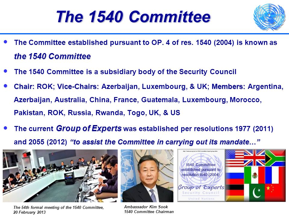 The 1540 Committee The Committee established pursuant to OP. 4 of res. 1540 (2004) is known as the 1540 Committee.