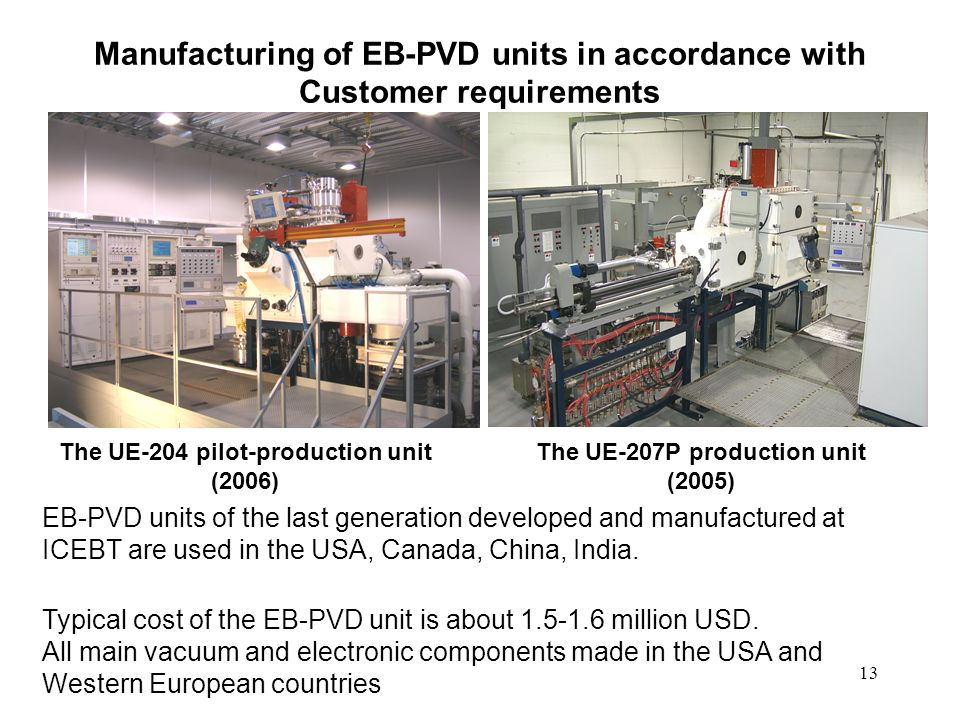 Manufacturing of EB-PVD units in accordance with Customer requirements