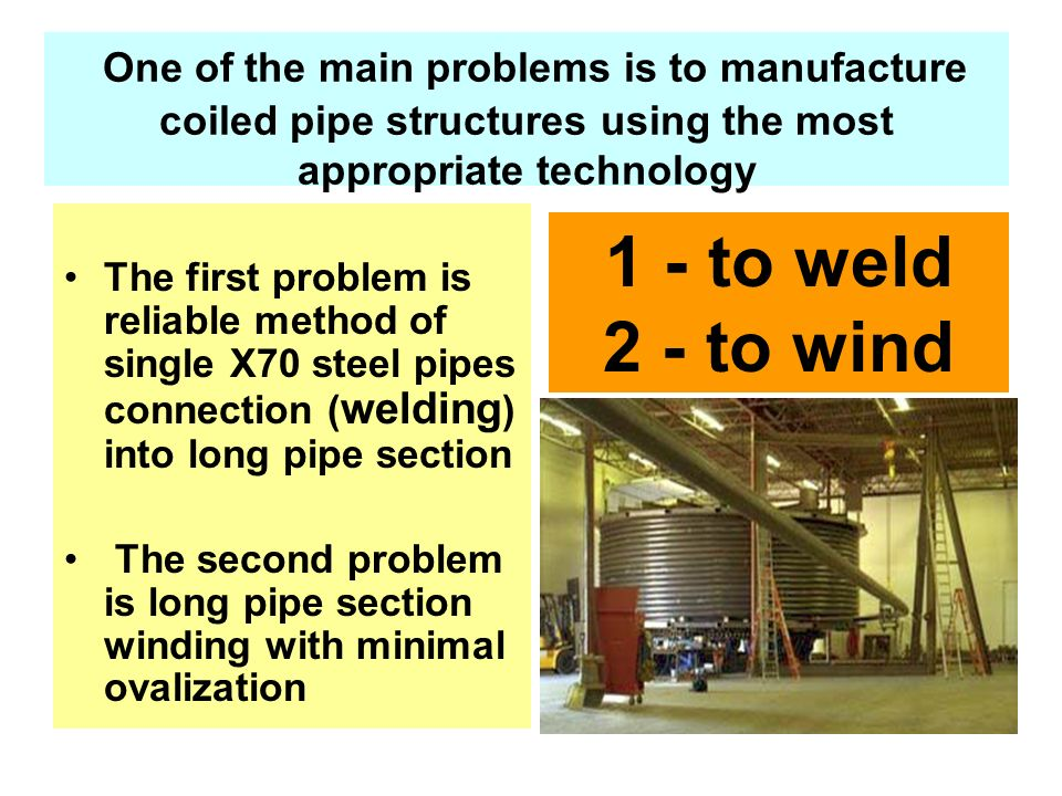 One of the main problems is to manufacture coiled pipe structures using the most appropriate technology
