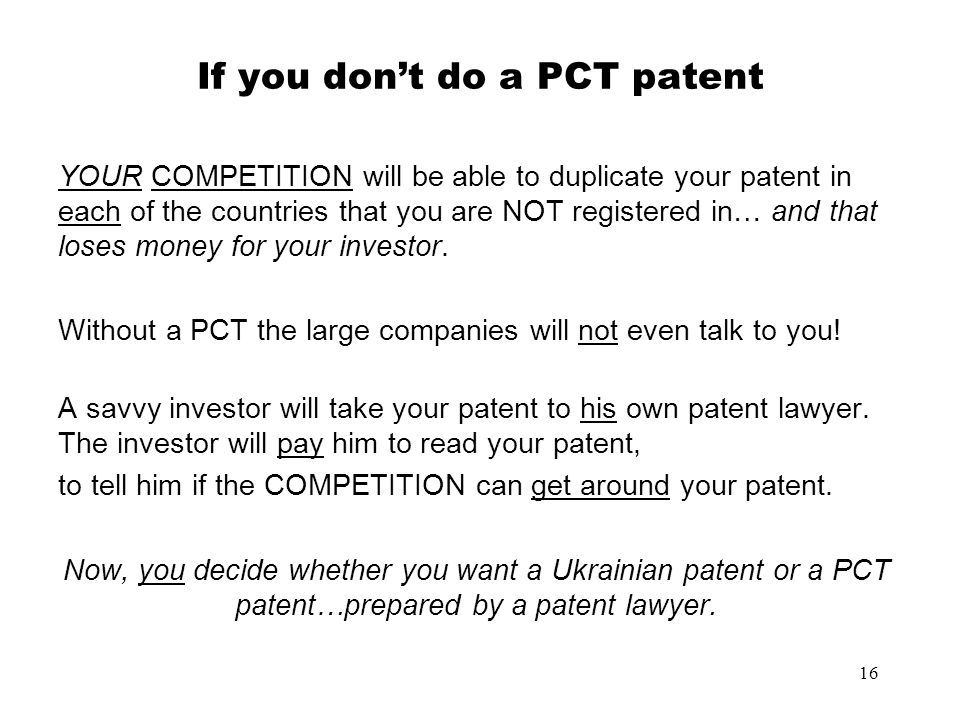 If you don't do a PCT patent
