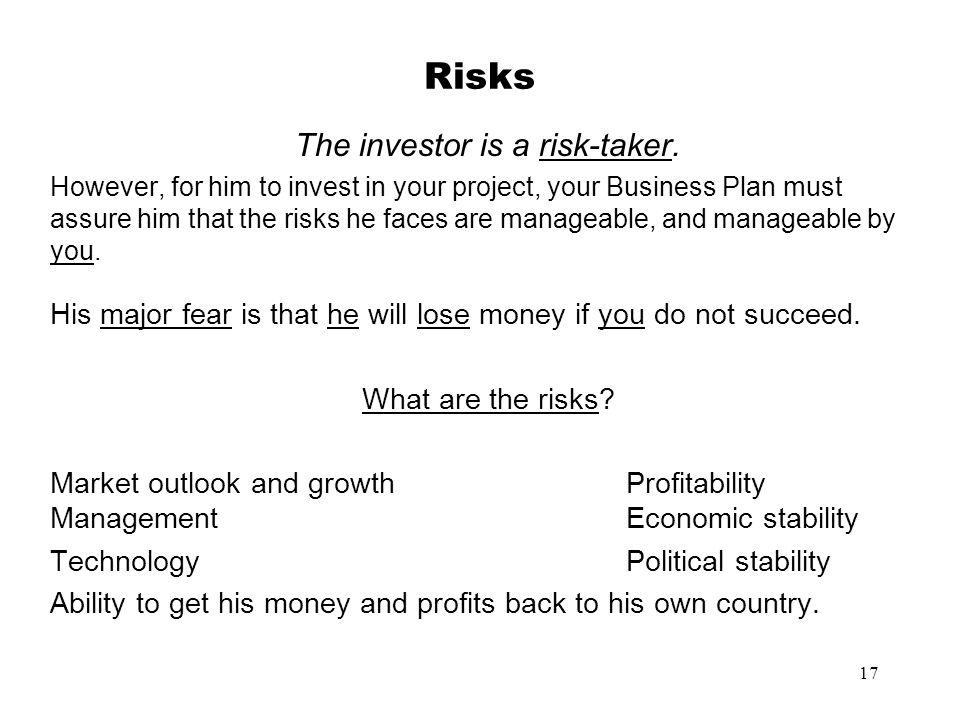 The investor is a risk-taker.