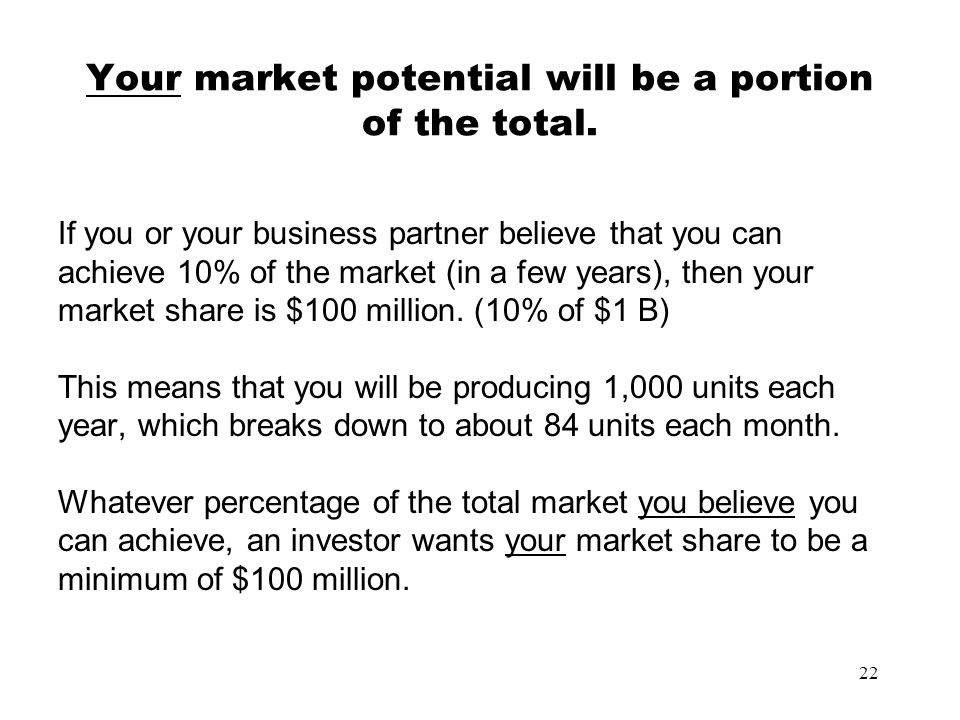 Your market potential will be a portion of the total.