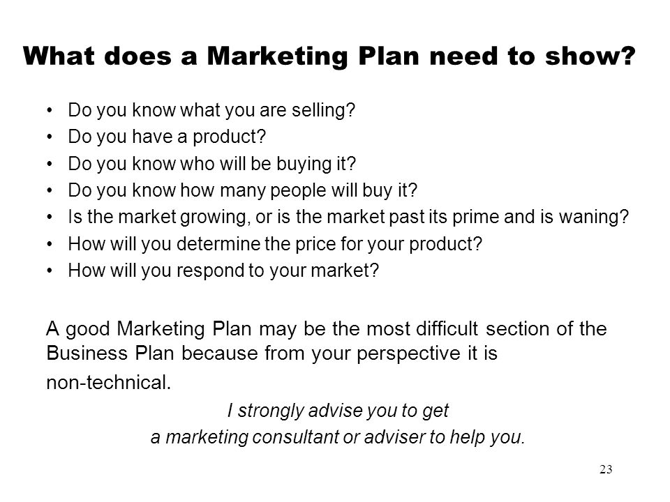 What does a Marketing Plan need to show