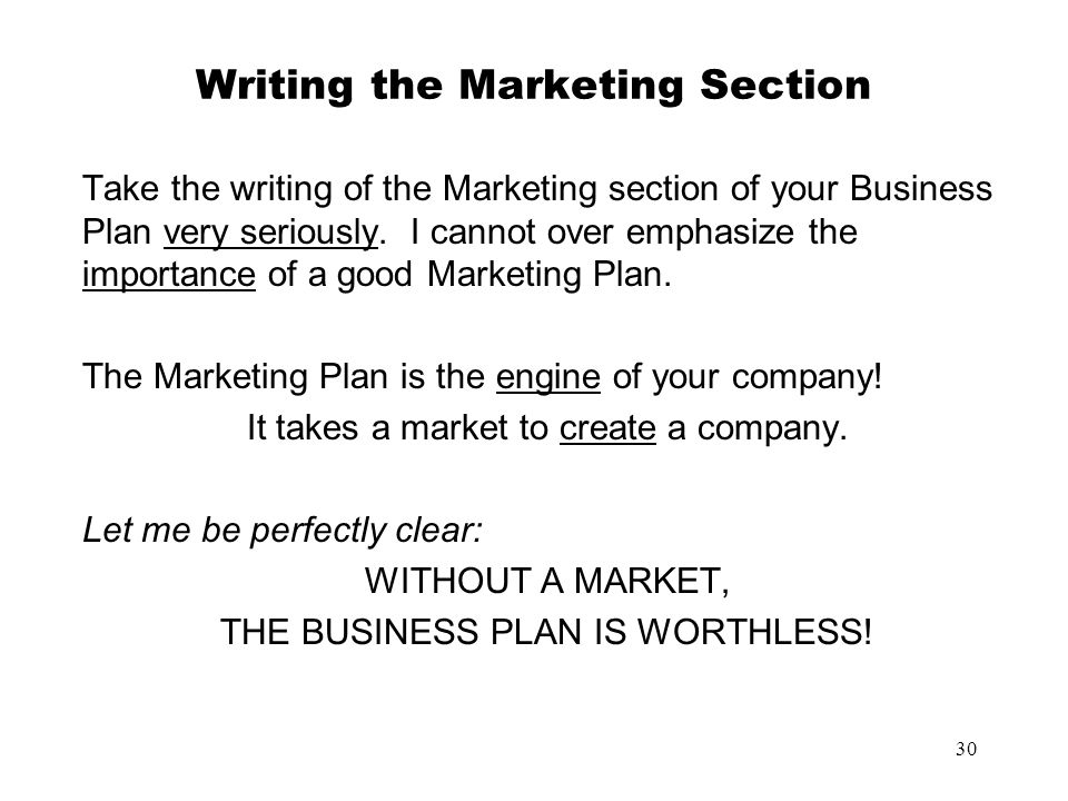 Writing the Marketing Section