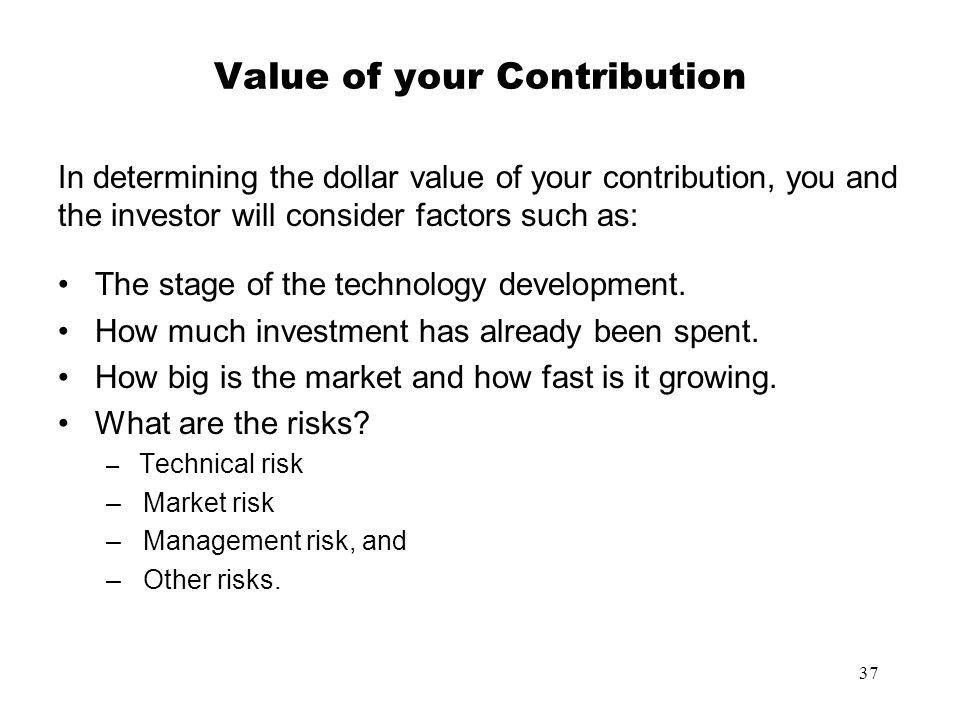 Value of your Contribution