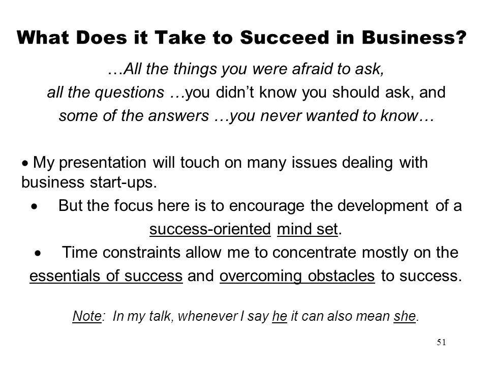 What Does it Take to Succeed in Business