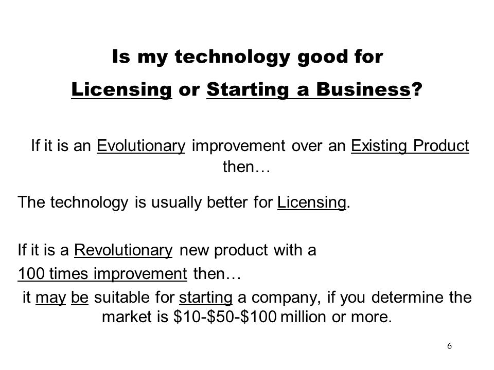 Is my technology good for Licensing or Starting a Business