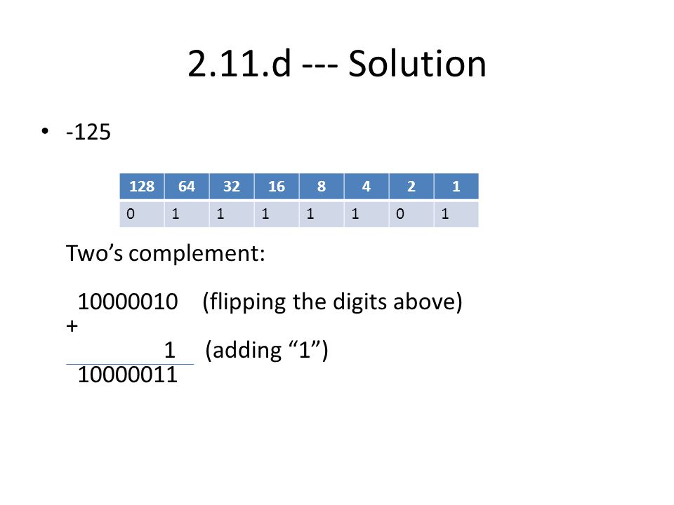 2.11.d --- Solution -125 Two's complement: 10000010 (flipping the digits above) + 1 (adding 1 ) 10000011.
