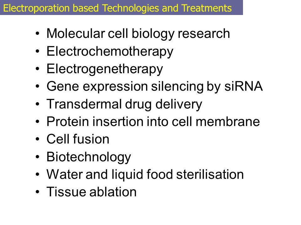 Molecular cell biology research Electrochemotherapy Electrogenetherapy