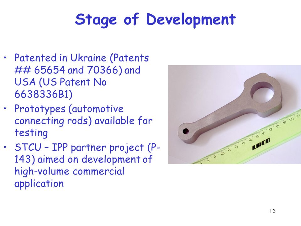 Stage of Development Patented in Ukraine (Patents ## 65654 and 70366) and USA (US Patent No 6638336B1)