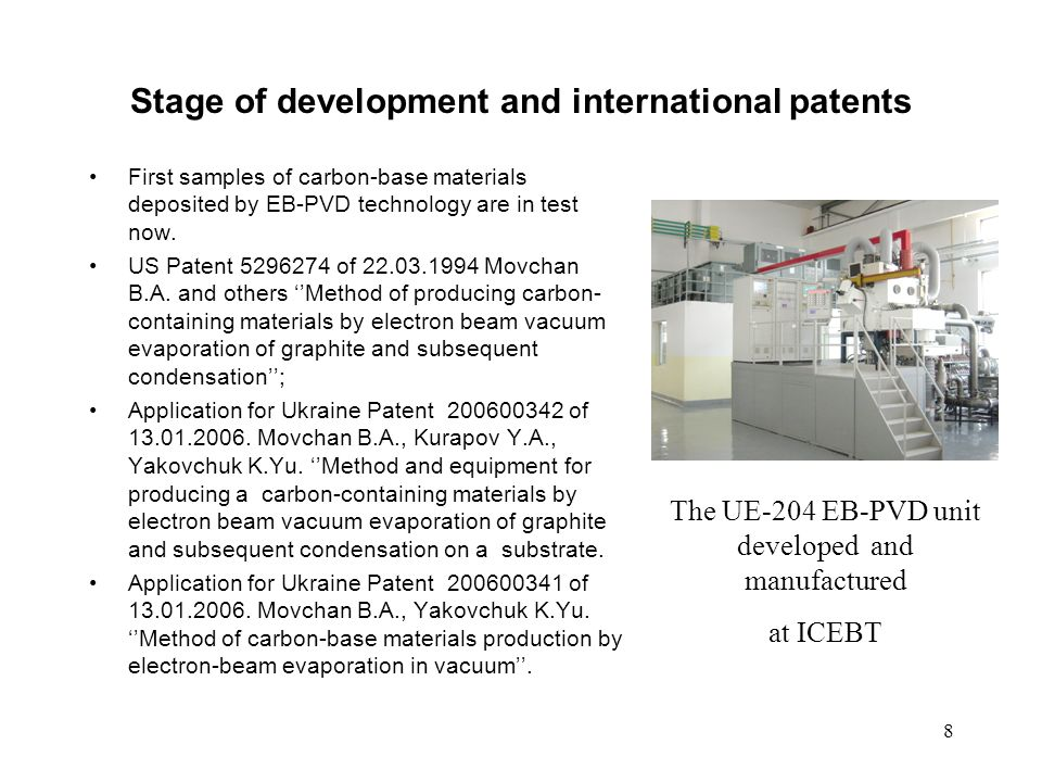 Stage of development and international patents