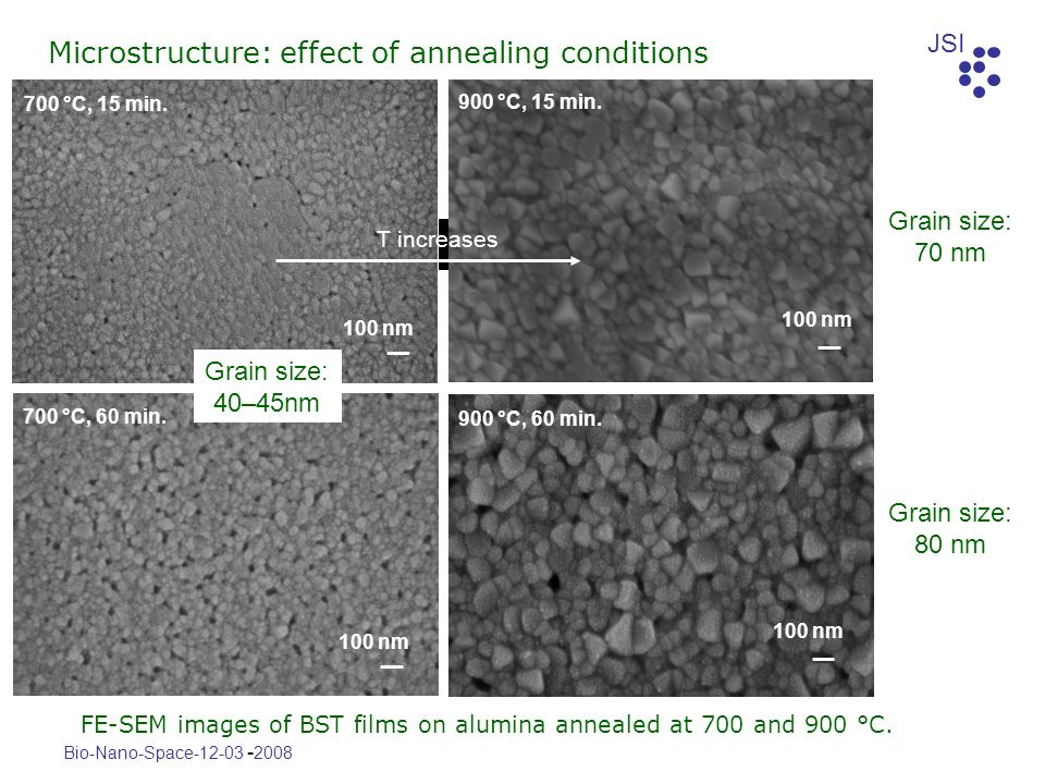 Microstructure: effect of annealing conditions