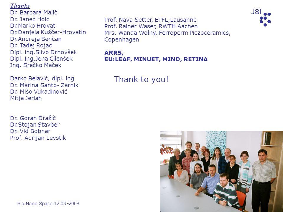 Thank to you! Thanks Dr. Barbara Malič Dr. Janez Holc Dr.Marko Hrovat