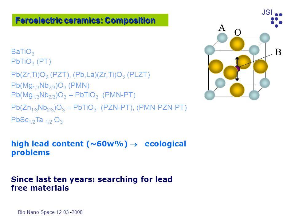 A O B Feroelectric ceramics: Composition BaTiO3 PbTiO3 (PT)