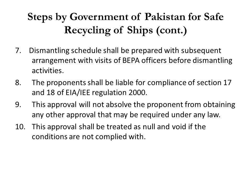 Steps by Government of Pakistan for Safe Recycling of Ships (cont.)