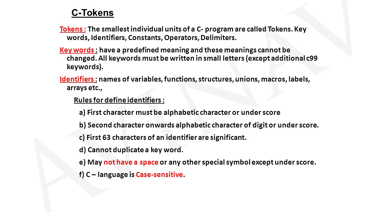 C language keywordsc99 ppt video online download 2 c tokens buycottarizona Image collections