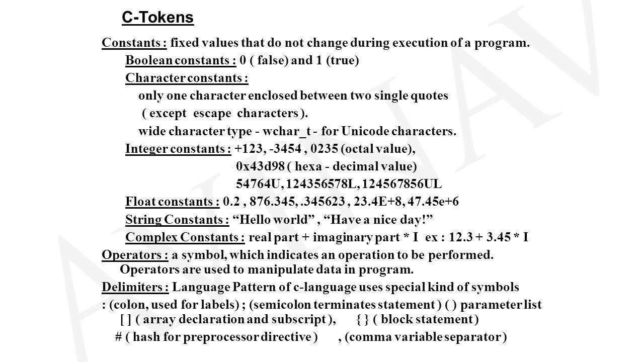C language keywordsc99 ppt video online download 3 c tokens buycottarizona Image collections