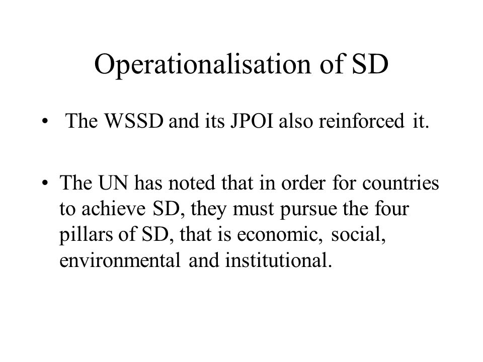Operationalisation of SD