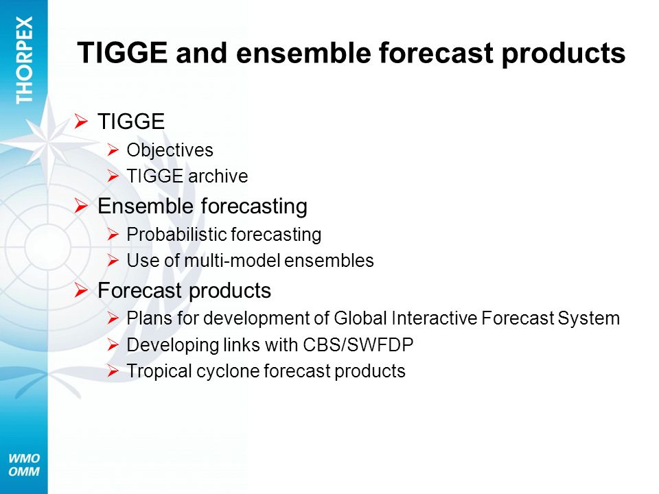 TIGGE and ensemble forecast products