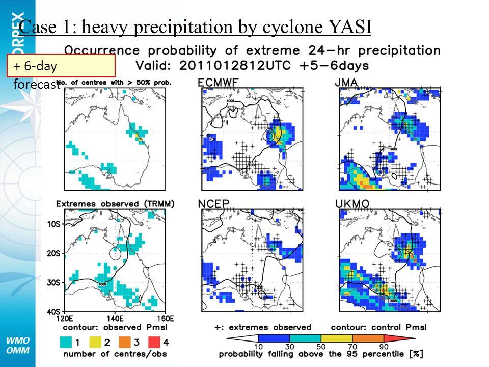 Case 1: heavy precipitation by cyclone YASI