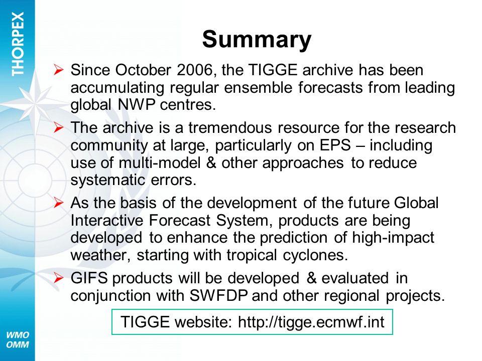 TIGGE website: http://tigge.ecmwf.int