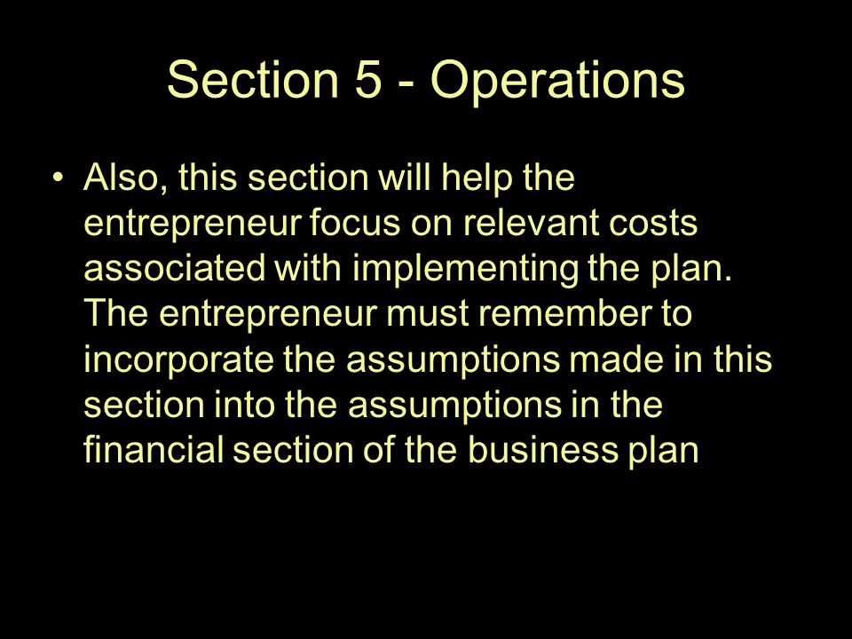 Financial Section Of Business Plan