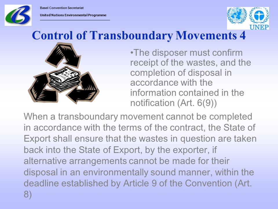 Control of Transboundary Movements 4
