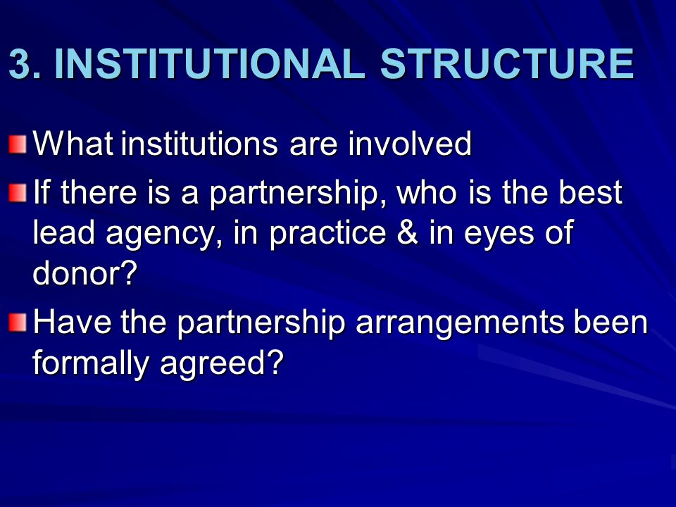 3. INSTITUTIONAL STRUCTURE