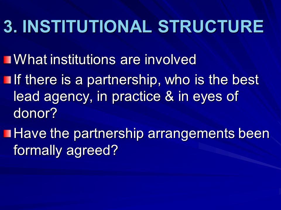 3. INSTITUTIONAL STRUCTURE