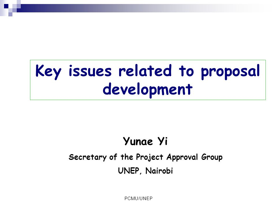Key issues related to proposal development
