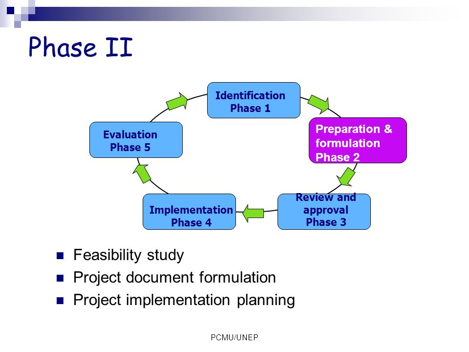 Phase II Feasibility study Project document formulation