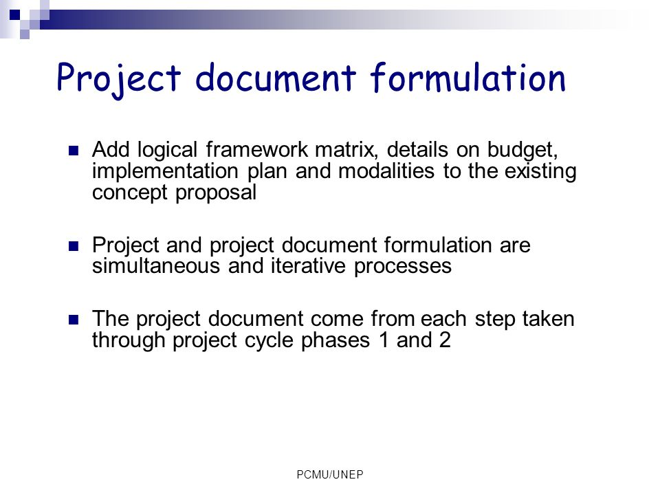 Project document formulation