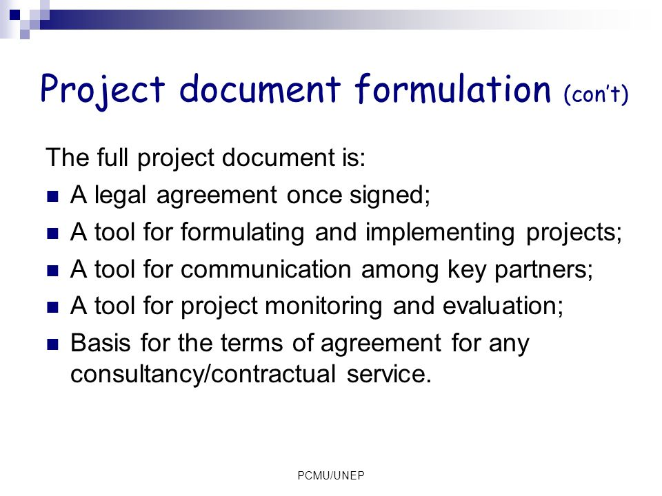 Project document formulation (con't)
