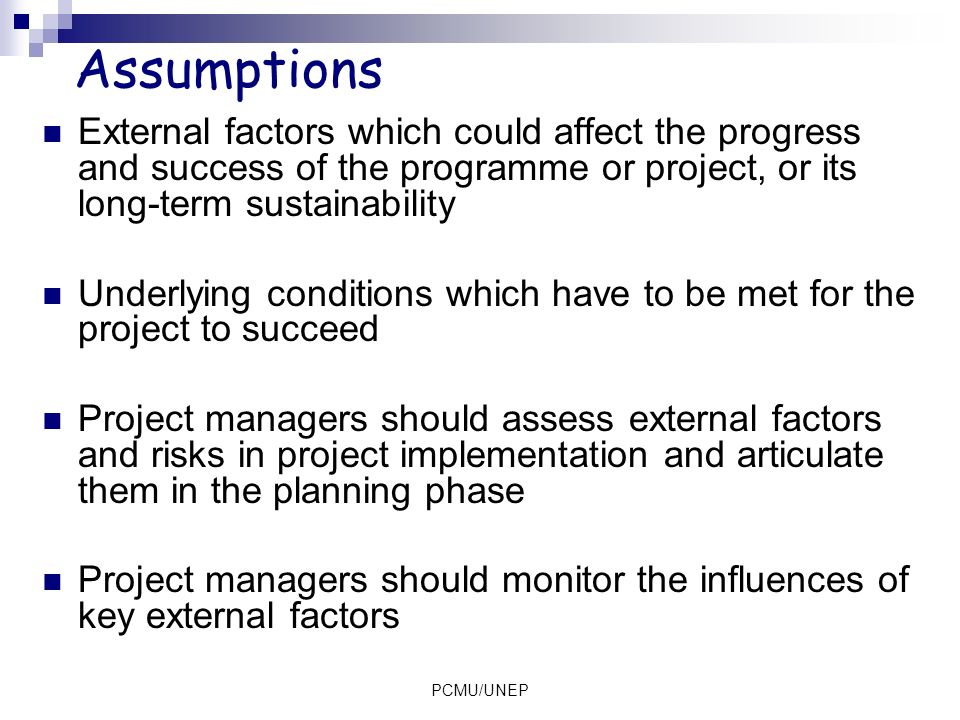 Assumptions External factors which could affect the progress and success of the programme or project, or its long-term sustainability.