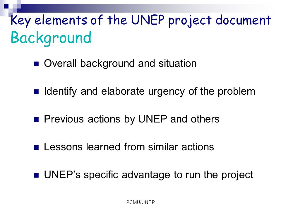 Key elements of the UNEP project document Background