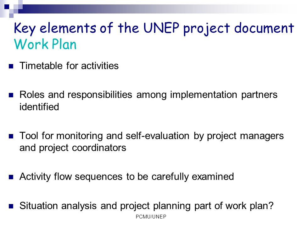 Key elements of the UNEP project document Work Plan