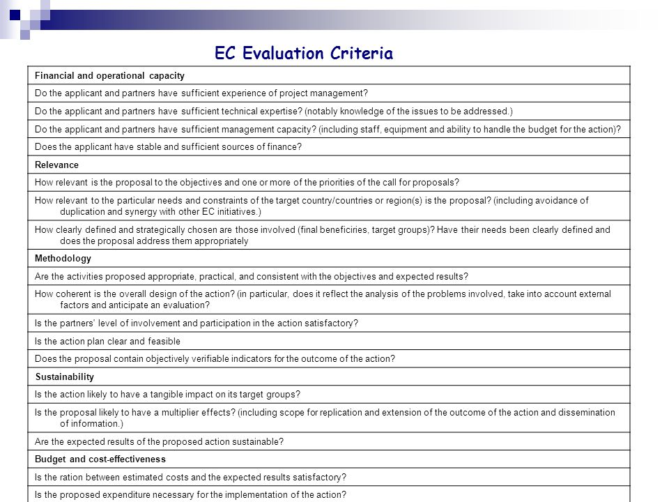 EC Evaluation Criteria
