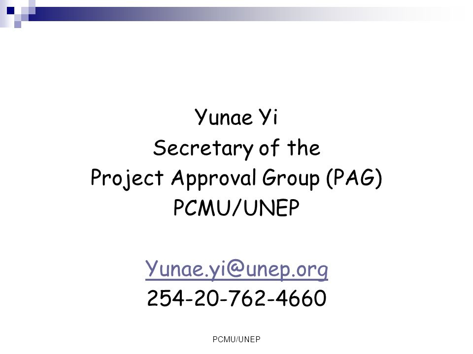 Project Approval Group (PAG)