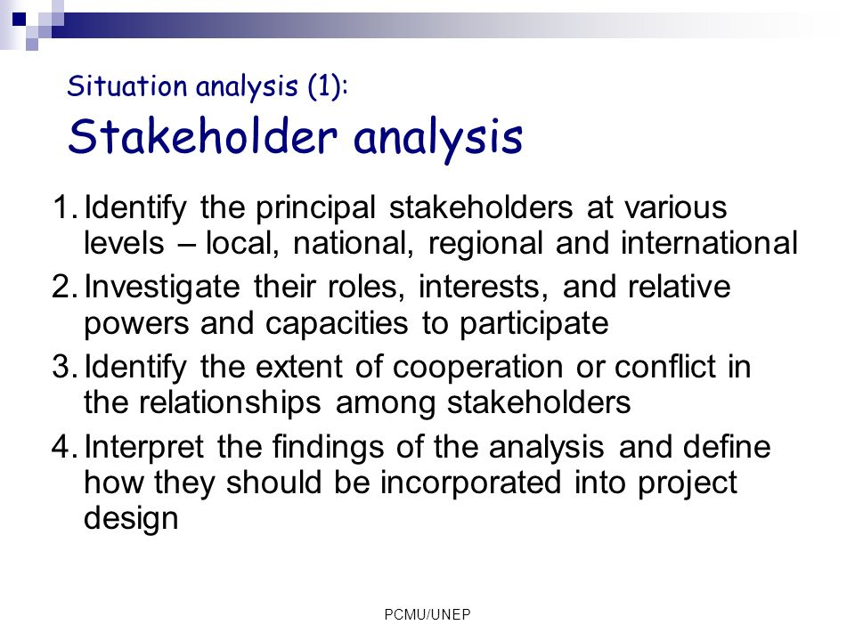 Situation analysis (1): Stakeholder analysis