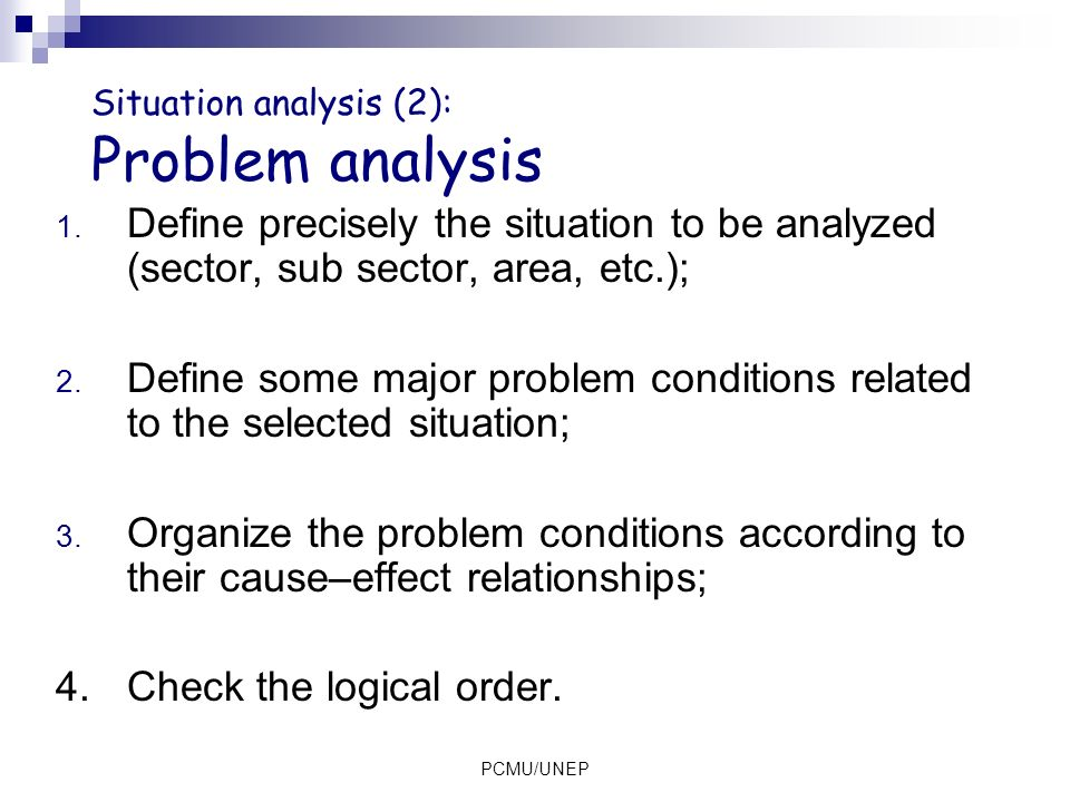 Situation analysis (2): Problem analysis