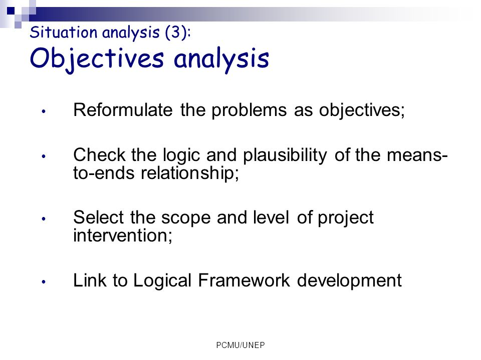 Situation analysis (3): Objectives analysis