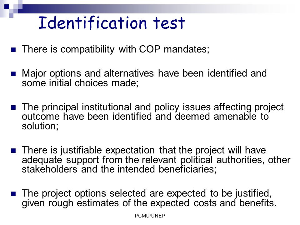 Identification test There is compatibility with COP mandates;