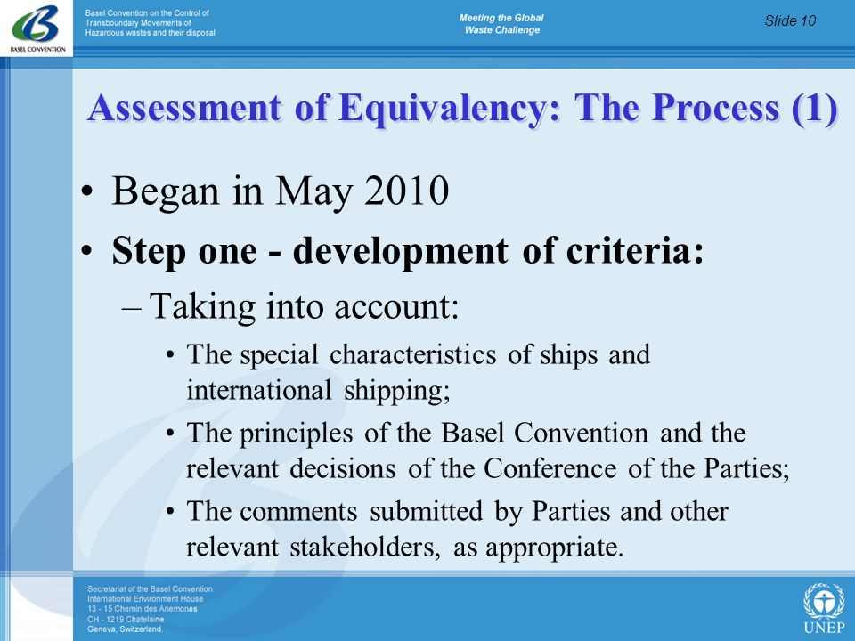 Assessment of Equivalency: The Process (1)