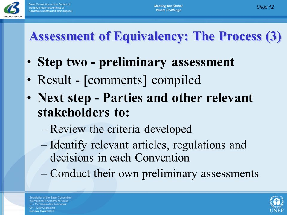 Assessment of Equivalency: The Process (3)