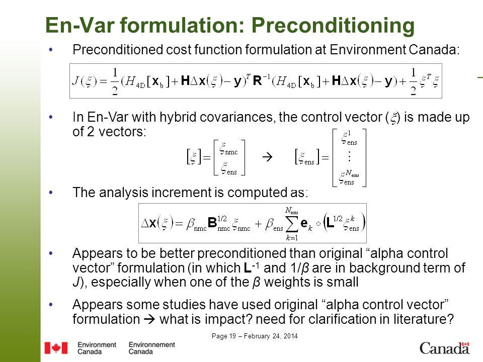 En-Var formulation: Preconditioning