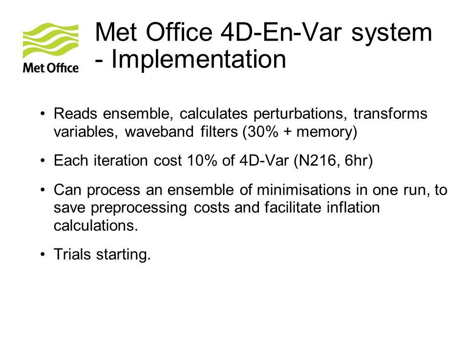 Met Office 4D-En-Var system - Implementation
