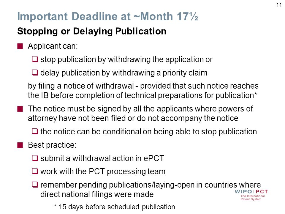 Important Deadline at ~Month 17½ Stopping or Delaying Publication